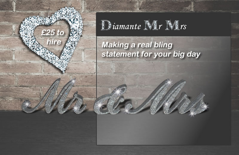 Diamante mr and mrs wedding sign for hire